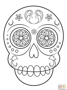 print sugar skull simple easy coloring pages sugar skull crafts sugar skulls easy coloring
