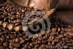 Coffee beans in handsa,  wooden table, brown, warm, shallow, detail
