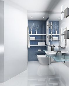Een witte hoogglans badkamer gietvloer.