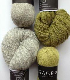 Isager Alpaca 1 and Tvinni Tweed - Light Natural Grey 2s, and 40 Chartreuse and 40s Chartreuse with Grey
