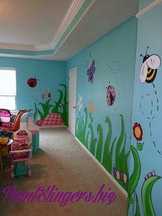 Kids room mural bugs butterflies turtles flowers