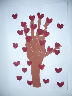 Hand print Tree of Hearts....Valentine's Day crafts for all kiddos