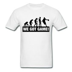 Basketball Evolution We Got Game F2 White Adult Standard Weight T-shirt For Men Outlet-Sports  T-shirts with 98% happy customers! Create custom shirts and personalized goods at http://hicustom.net/ ,Use our online designer to add your design, logos, or text. easily!