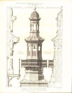 Paris Town Hall Building in Paris Main Tower Elements 1883 Architecture Print