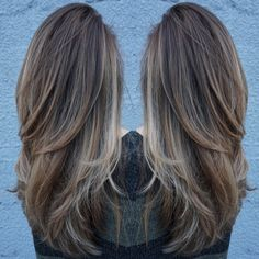 came to me yesterday with an old grown out ombré. She wanted to soften it and keep natural base. So I did baby lights throughout, heavier towards the front, and added some lowlights to break up the bottom. Long Thin Hair, Long Hair Cuts, Face Shape Hairstyles, Pretty Hairstyles, Bob Haircut For Fine Hair, Light Brunette, Medium Hair Styles, Long Hair Styles, Light Hair