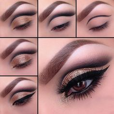 Gorgeous Golden Cat Eye Make-up Maquillaje Cut Crease, Maquillage Yeux Cut Crease, Eye Makeup Steps, Makeup Tips, Beauty Makeup, Makeup Goals, Hair Makeup, Khol Eyeliner, Black Eyeliner