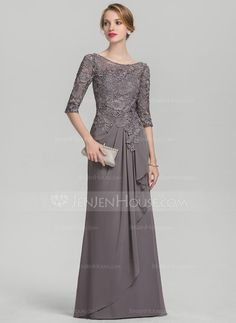 A-Line/Princess Scoop Neck Floor-Length Chiffon Lace Mother of the Bride Dress With Cascading Ruffles - Mother of the Bride Dresses - JJsHouse Mother Of The Bride Suits, Mother Of Groom Dresses, Mothers Dresses, Bride Groom Dress, Vestidos Fashion, Fashion Dresses, Mob Dresses, Nice Dresses, Ivory Dresses