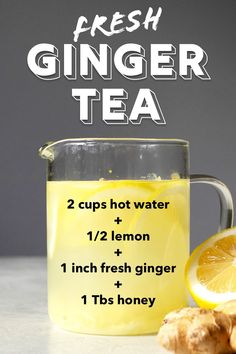 Shogayu, the Japanese Ginger Tea for Cold and Weight Loss - Organimoon Hot Tea Recipes, Detox Recipes, Juice Recipes, Drink Recipes, Detox Drinks, Healthy Drinks, Healthy Lemonade, Ginger Lemon Honey Tea, Fresh Ginger