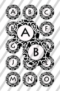These designs are presented in a inch circle for bottlecap x sheet to print and create your own pins bottle caps cupcake toppers magnets stickers necklaces key chains jewelry and Alphabet, Symbols, Scrapbook, Letters, Unique Jewelry, Handmade Gifts, Etsy, Kid Craft Gifts, Alpha Bet