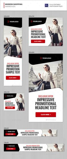 Modern Shopping Banner Ads — Photoshop PSD #sales #templates • Available here → https://graphicriver.net/item/modern-shopping-banner-ads/15941601?ref=pxcr