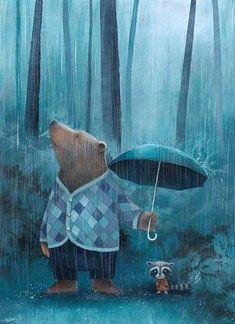 Gorgeous rainy days illustration by Catherine Zarip Art And Illustration, Magazine Illustration, Art Illustrations, Photo Images, Bear Art, Pics Art, Whimsical Art, Cute Art, Art Paintings