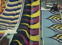 Maija Isola fabrics/Marimekko 1967. Photo Helge Heinonen. Fabrics: Meduusa, Kasbah, Tiikerililja, Keisarikruunu