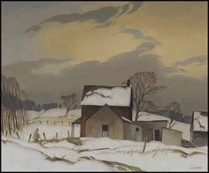 Alfred Joseph (A.J.) Casson - End of Day 20 x 24 oil on board