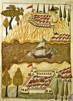 Anadolu ve Rumeli Hisarı-  Turkish Memories, Cicogna Codex, Turkey 17th Century