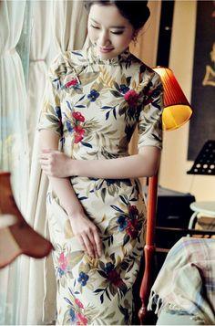Beige Floral Midi Half Sleeve Linen Qipao / Cheongsam / Chinese Dress