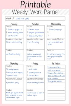 Get the most out of your workweek by using a printable weekly work planner. Its a great way to get a more control over your workweek and create a better work-life balance Budget Planner, Life Planner, Happy Planner, Daily Work Planner, 2015 Planner, Agenda Planner, Financial Planner, Pages D'agenda, Planner Template
