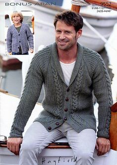 Cable Detail Cardigans in Hayfield Bonus Aran with Wool - Discover more Patterns by Hayfield at LoveKnitting. The world's largest range of knitting supplies - we stock patterns, yarn, needles and books from all of your favourite brands. Mens Knitted Cardigan, Knit Cardigan Pattern, Cable Cardigan, Men Sweater, Knitting Designs, Knitting Patterns, Crochet Men, Knitwear, Clothes