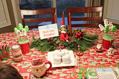Elf on the Shelf North Pole Breakfast – 2013 North Pole Br. Christmas Elf, Christmas Angels, The Elf, Elf On The Shelf, North Pole Breakfast, Diy Crafts For Teen Girls, Christmas Preparation, Cool Tables, Tree Shapes
