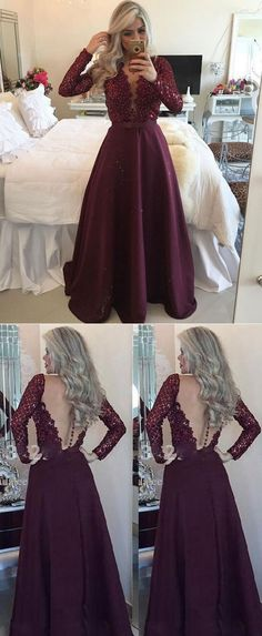 prom dresses with long sleeves, deep v neck prom dresses 2018 , wine long prom dresses for women