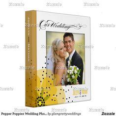 Pepper Poppies Wedding Photo Album yellow 3 Ring Binder