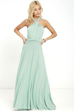 """Lulus Exclusive! Versatility at its finest, the Tricks of the Trade Light Sage Maxi Dress knows a trick or two... or four! Two, 76"""" long lengths of…"""