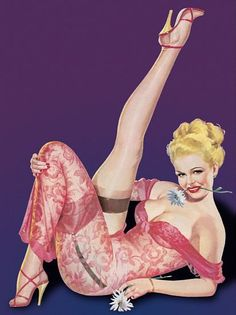 Pin Up Poster Blonde Pinup With Flower In