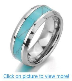 JBlue Jewelry Men,Women's Tungsten Ring Band Turquoise Comfort Fit Green Wedding (with Gift Bag)