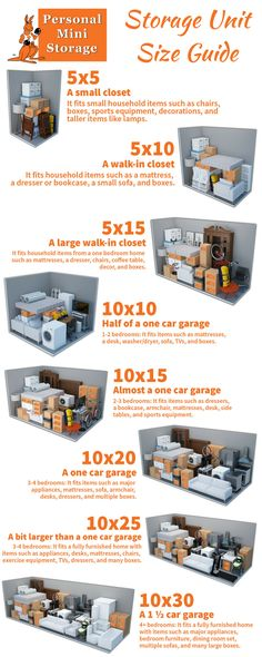 picking a self storage unit, make sure you are choosing the right size! Here's a unit size guide and what fits in them, and how to keep all your stored items organized. Diy Storage Unit, Home Storage Units, Storage Unit Sizes, Home Office Storage, Kitchen Storage Solutions, Cupboard Storage, Storage Hacks, Storage Organization, Storage Ideas