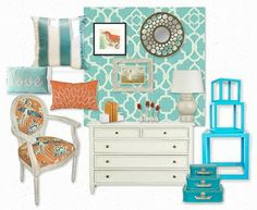 Turquoise and coral...room ideas