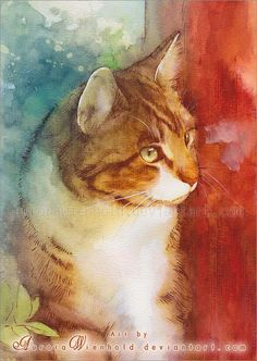 Cat Watercolors by Aurora Wienhold | Cuded An expectant hunter