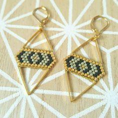 Boucles d'oreilles modèle losange attaches en plaqué or kaki, noir et dore