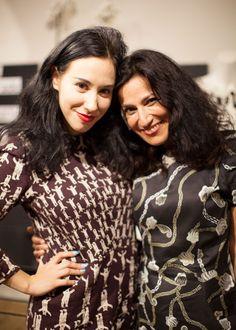 Safia Minney wears Zandra Rhodes for People Tree and Ada Zanditon wears Peter Jensen for People Tree at London Fashion Week Aterlier Launch Party #ss14 #aw13 #lfw