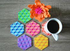 Fusible de grano / Perler cuentas geométricas Coaster por 8bitkatie
