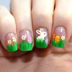 If you're looking for cute nail art designs for Easter, you're in the right place! Our collection of 32 Easter nail designs will certainly inspire you and stimulate your creativity. Your nails shouldn't be ignored this year. Easter Nail Designs, Easter Nail Art, Nail Art Designs, Nails Design, Green Nail Art, Green Nails, Green Art, Spring Nail Art, Spring Nails