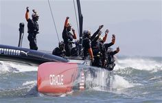 #ORACLETEAMUSA won Race 15 by 37seconds over Emirates Team New Zealand to sweep the day after winning Race 14 by 23 seconds.  ORACLE TEAM USA has clawed its way to 8-5 on the scoreline, after trailing by 8-1 on Wednesday. Emirates Team New Zealand needs one more win to win the America's Cup while ORACLE TEAM USA has to win out, four more victories.