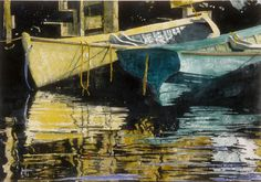 "evening dories 2  28"" x 40""  micheal zarowsky watercolour on arches paper / private collection"