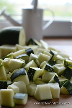 Chopped Zucchini / Courgette| www.myfoododyssey.com