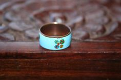 SALE ...Vintage Copper Band / Ring  Baby Blue in size 6 and