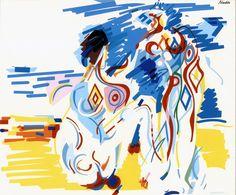 Tatuados - © Nadir Afonso Nadir Afonso, Gustav Klimt, Famous Artists, Contemporary Art, Portugal, Disney Characters, Fictional Characters, Portuguese, Artwork