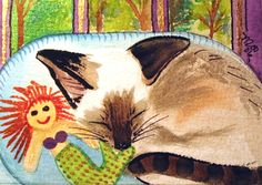 Siamese cat sleeping with Mermaid ACEO Ltd Ed PRINT of Original WC painting  Art
