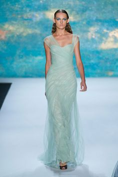 Monique Lhuillier Spring 2013 - Love this Mint Green gown - See more of the #Mint #Wedding #Trend at this Pinterest board