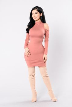 - Available in Mauve - Mock Neckline - Cold Shoulder - Long Sleeve - 96% Rayon, 4% Spandex