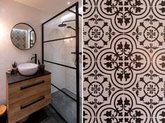 Czarno-biala-lazienka, black and white bathroom, small bathroom, boho bathroom Boho Bathroom, White Bathroom, Small Bathroom, Malaga, Mirror, House, Furniture, Home Decor, Black