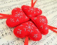 Felt christmas ornament_handmade Scandinavian Heart_Embroidered Snowflake decoration_Blue red felt heart ornament_Handmade heart ornament