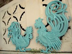 Vintage Turquoise Blue Rooster Wall Hangings Cast Metal Upcycled