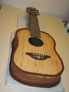 The neck is solid chocolate. Had a few issues with figuring out how to support the neck - ended up. Cake Icing, Cupcake Cakes, Cupcakes, Cupcake Ideas, Beautiful Cakes, Amazing Cakes, Music Themed Cakes, Music Cakes, Guitar Birthday Cakes