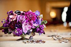 low flower arrangement wedding table