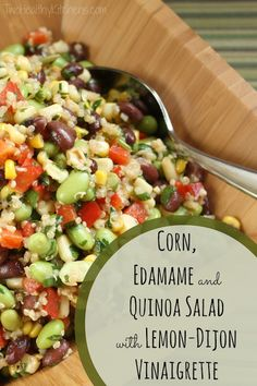 Corn, Edamame and Quinoa Salad with Lemon-Dijon Vinaigrette | www.TwoHealthyKitchens.com | #CowboyCaviar #quinoa #salad #summer #picnic #recipe