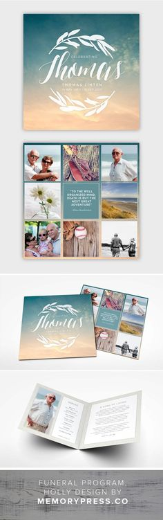 Holly funeral program template, ocean/beach theme. Customised by a professional Graphic Designer for only $99.90. Designed by Memory Press, available at memorypress.co: