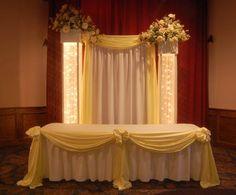 Wedding, Flowers, Reception, Decor, Elegant, Crystal, Head table, Drape